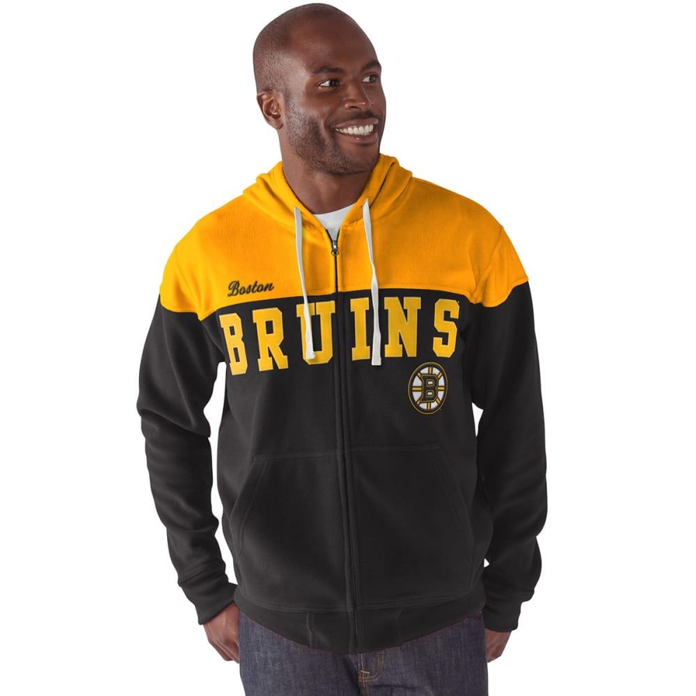 BOSTON BRUINS Men's First Down Full-Zip Fleece - BLACK/YELLOW