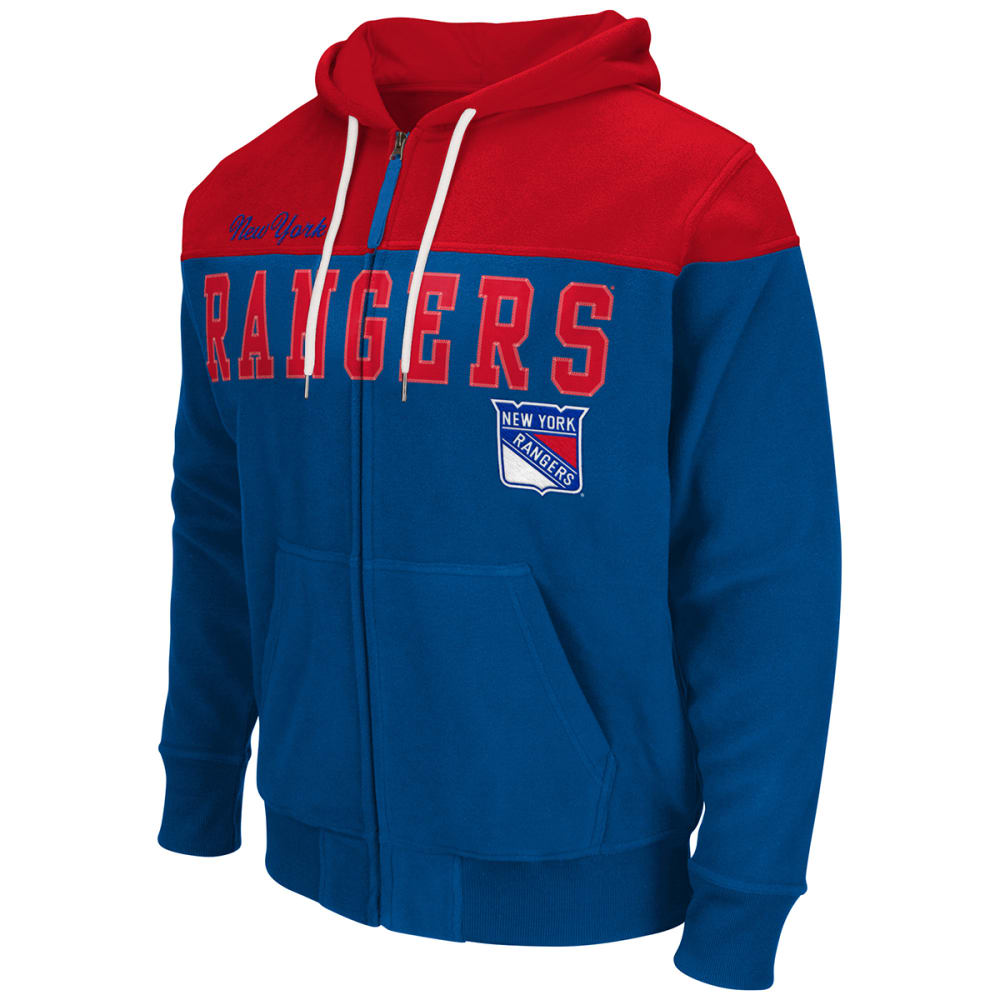 NEW YORK RANGERS Men's First Down Full-Zip Fleece - ROYAL BLUE / RED