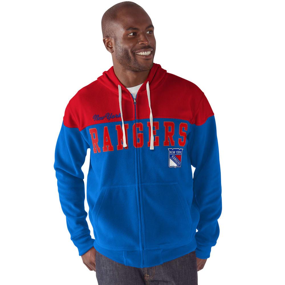 NEW YORK RANGERS Men's First Down Full-Zip Fleece - ROYAL BLUE / RED