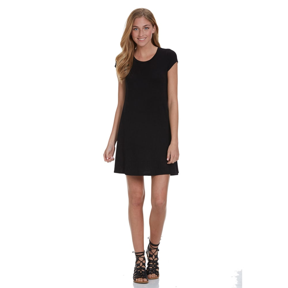 POOF Juniors' Solid Trapeze Dress - BLACK