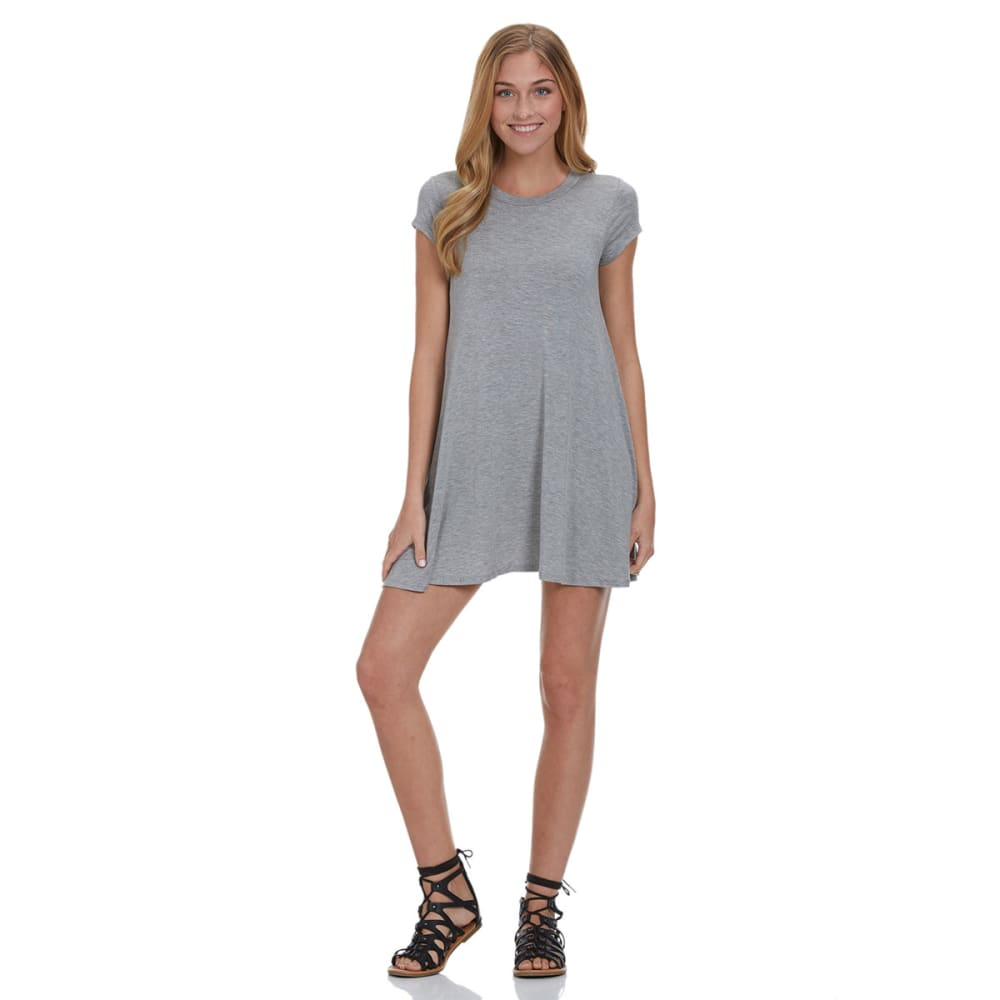 POOF Juniors' Solid Trapeze Dress - GREY LT.