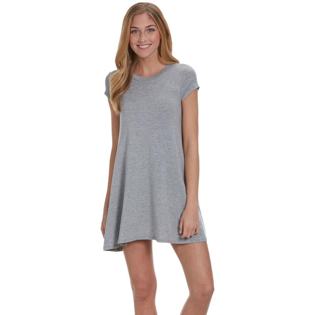POOF Juniors' Solid Trapeze Dress - GREY LT.