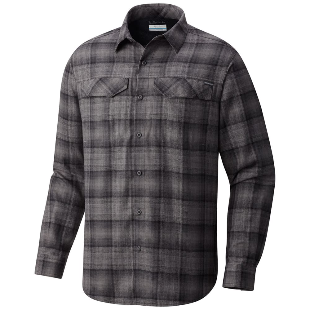 Columbia Men's Silver Ridge(TM) Flannel Long-Sleeve Shirt - Black, M