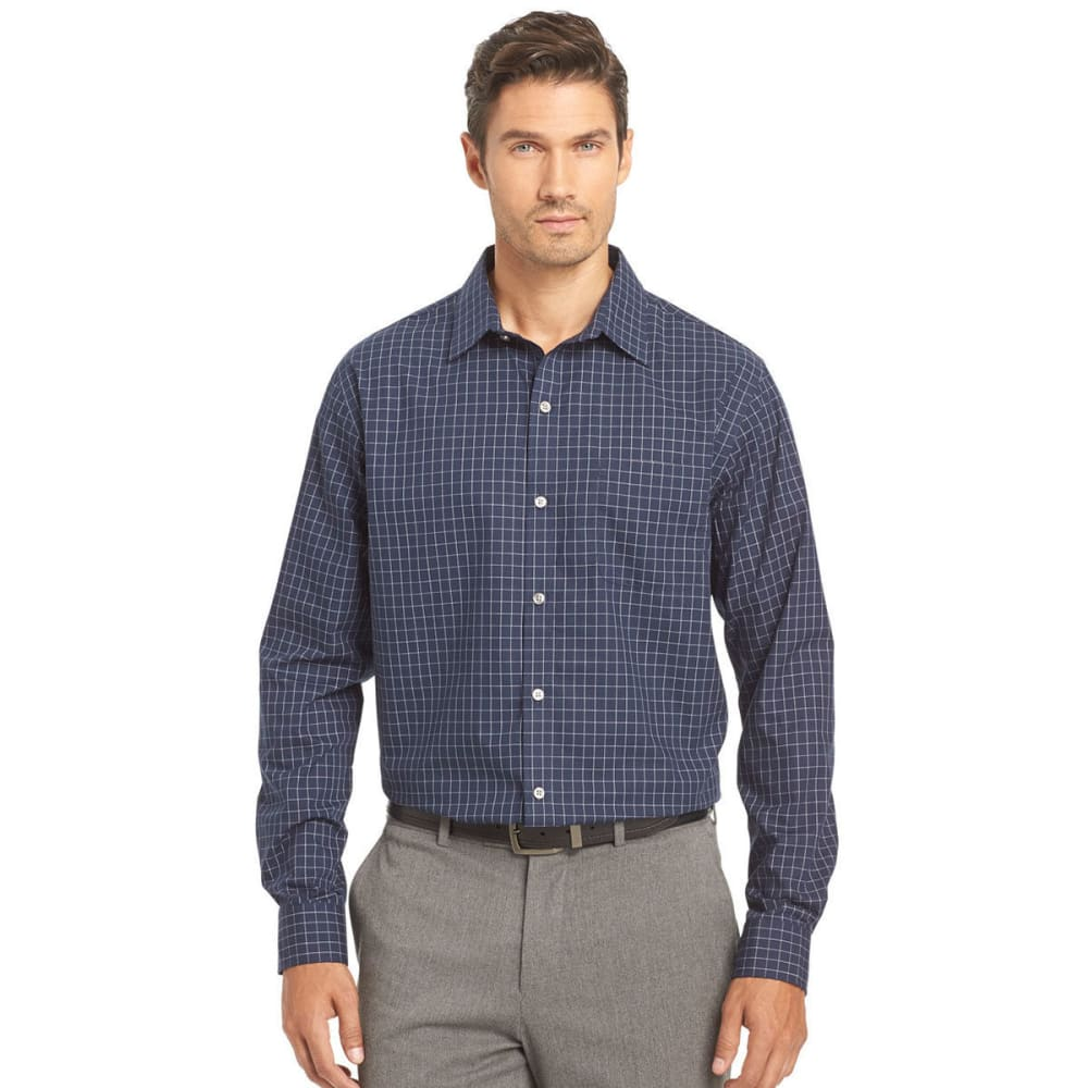 VAN HEUSEN Men's Traveler Woven Windowpane Long-Sleeve Shirt - 489-BLUE BLK IRIS