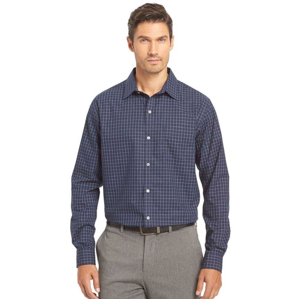 VAN HEUSEN Men's Traveler Woven Windowpane Long-Sleeve Shirt - 489-BLUE BLK IRIS
