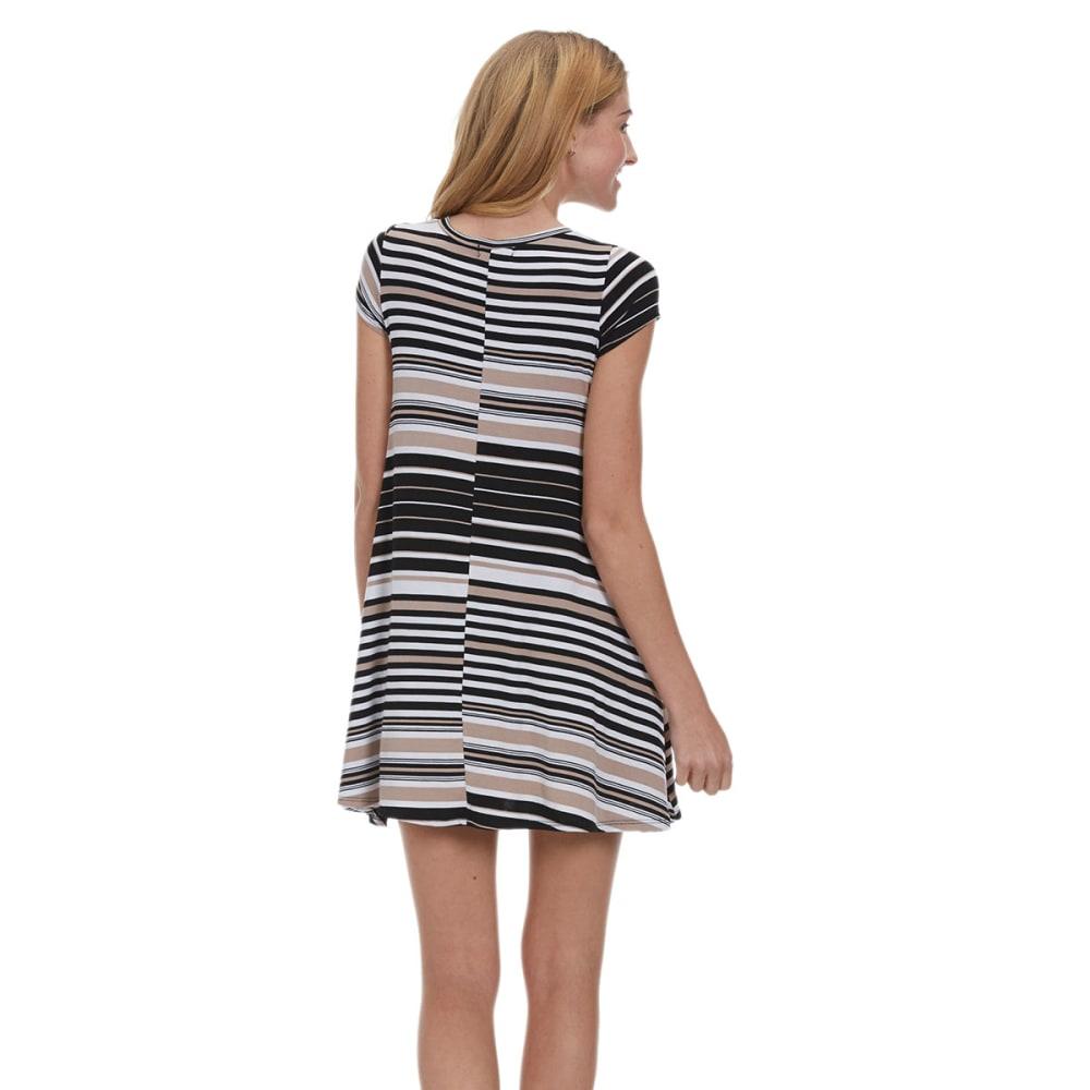 POOF Juniors' Striped Trapeze Dress - KHAKI/BLACK/WHITE