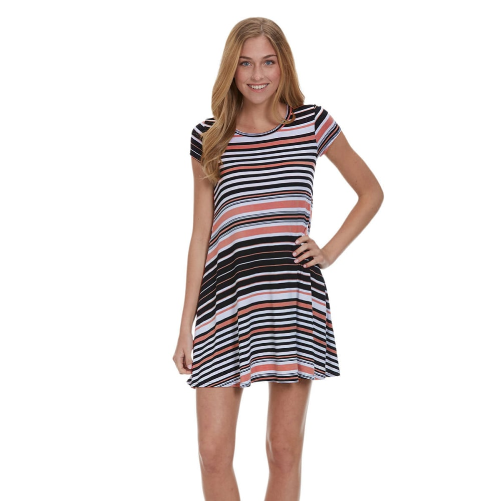 POOF Juniors' Striped Trapeze Dress - CORAL/BLACK/WHITE
