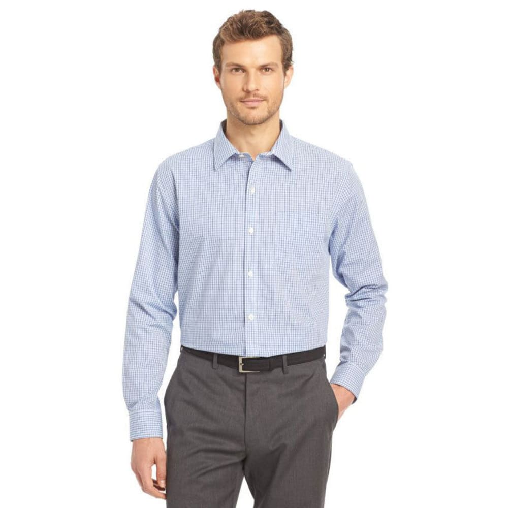 VAN HEUSEN Men's Traveler Woven Tattersall Long-Sleeve Shirt - 470-BLUE MAZARINE