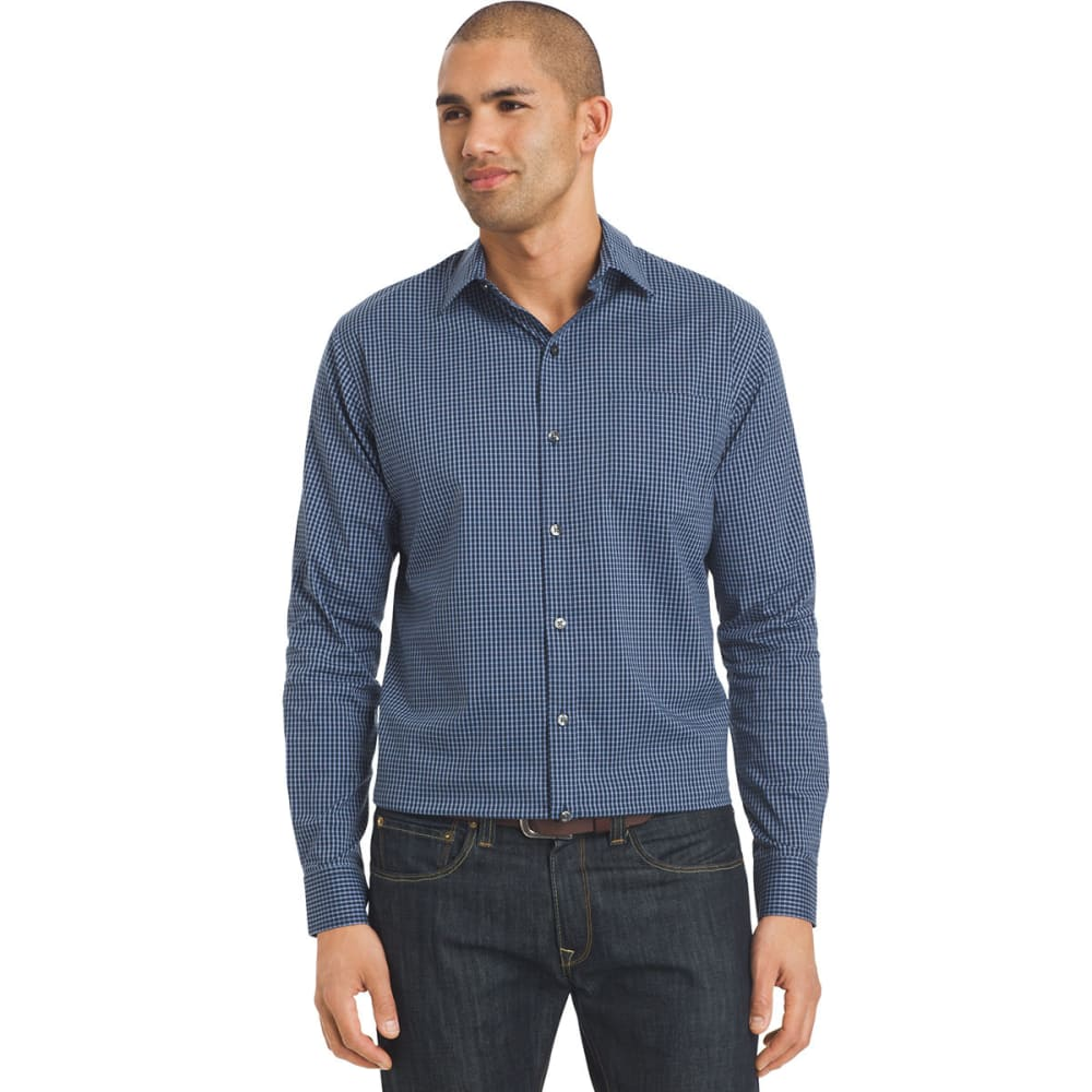 VAN HEUSEN Men's Traveler Woven Stripe Long-Sleeve Shirt - 489-BLU BLK IRIS