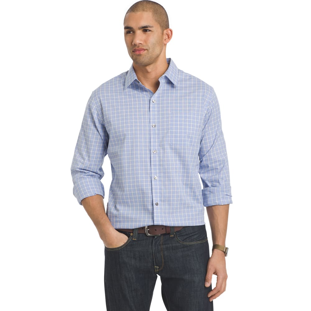 VAN HEUSEN Men's Traveler Woven Plaid Long-Sleeve Shirt - 451-BLUE CRISP