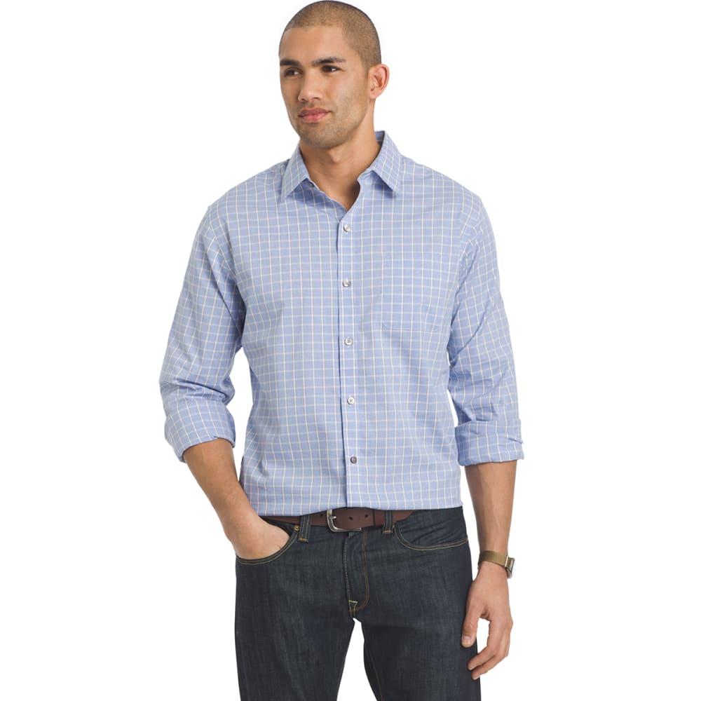 VAN HEUSEN Men's Traveler Woven Plaid Long-Sleeve Shirt - 451-BLUE CRISP