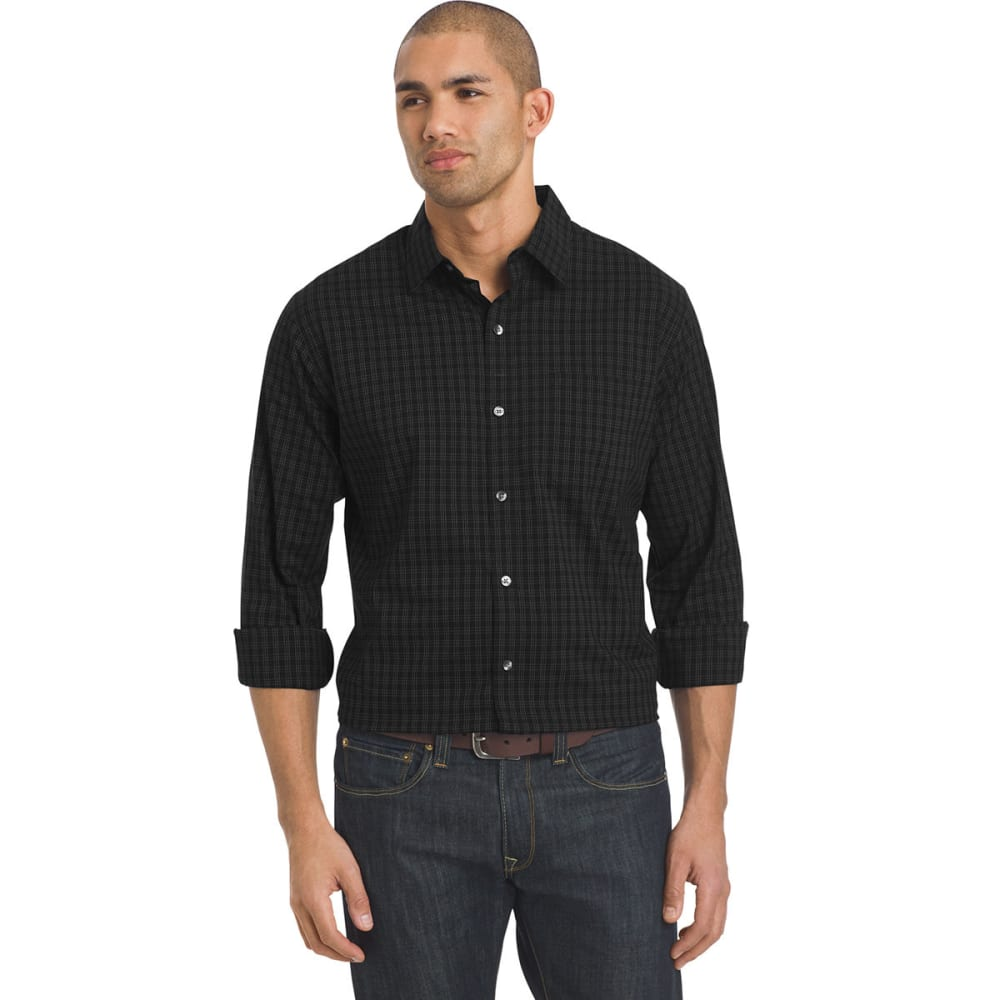 VAN HEUSEN Men's Woven Traveler Shirt - 001-BLACK