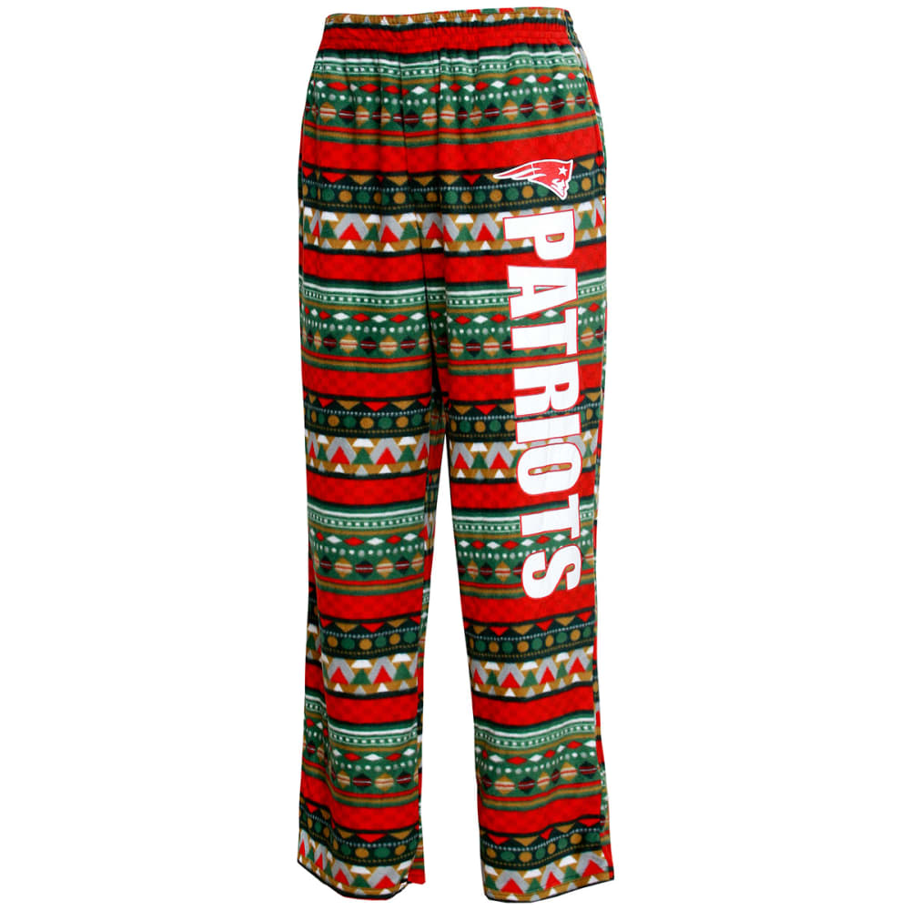 NEW ENGLAND PATRIOTS Men's Holiday Lounge Pants - BROWN/GREEN/RED