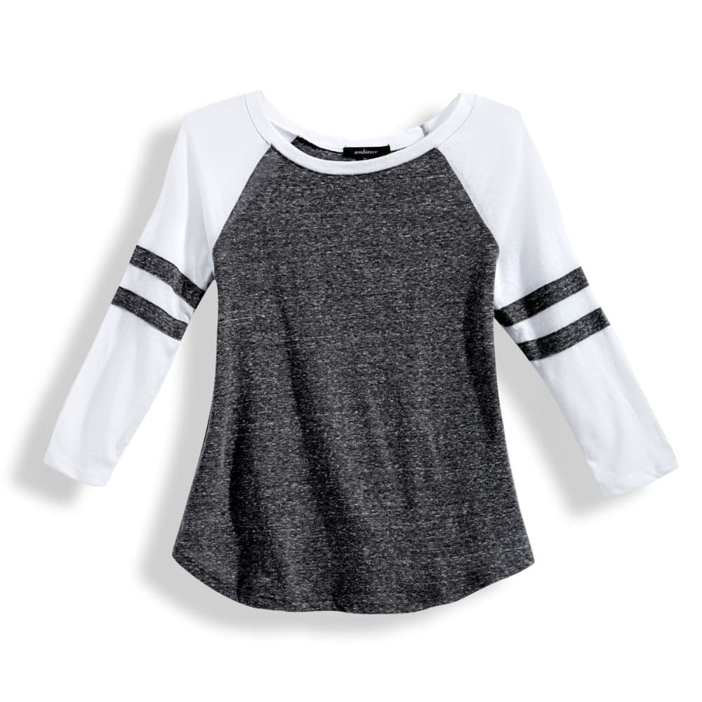 AMBIANCE Juniors' Baseball Rugby Stripe ¾ Sleeve Tee - BLACK/WHITE
