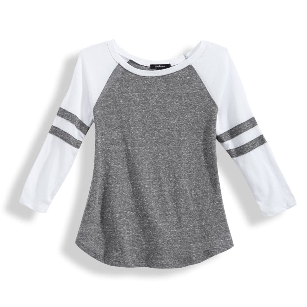 AMBIANCE Juniors' Baseball Rugby Stripe ¾ Sleeve Tee - GREY/WHITE