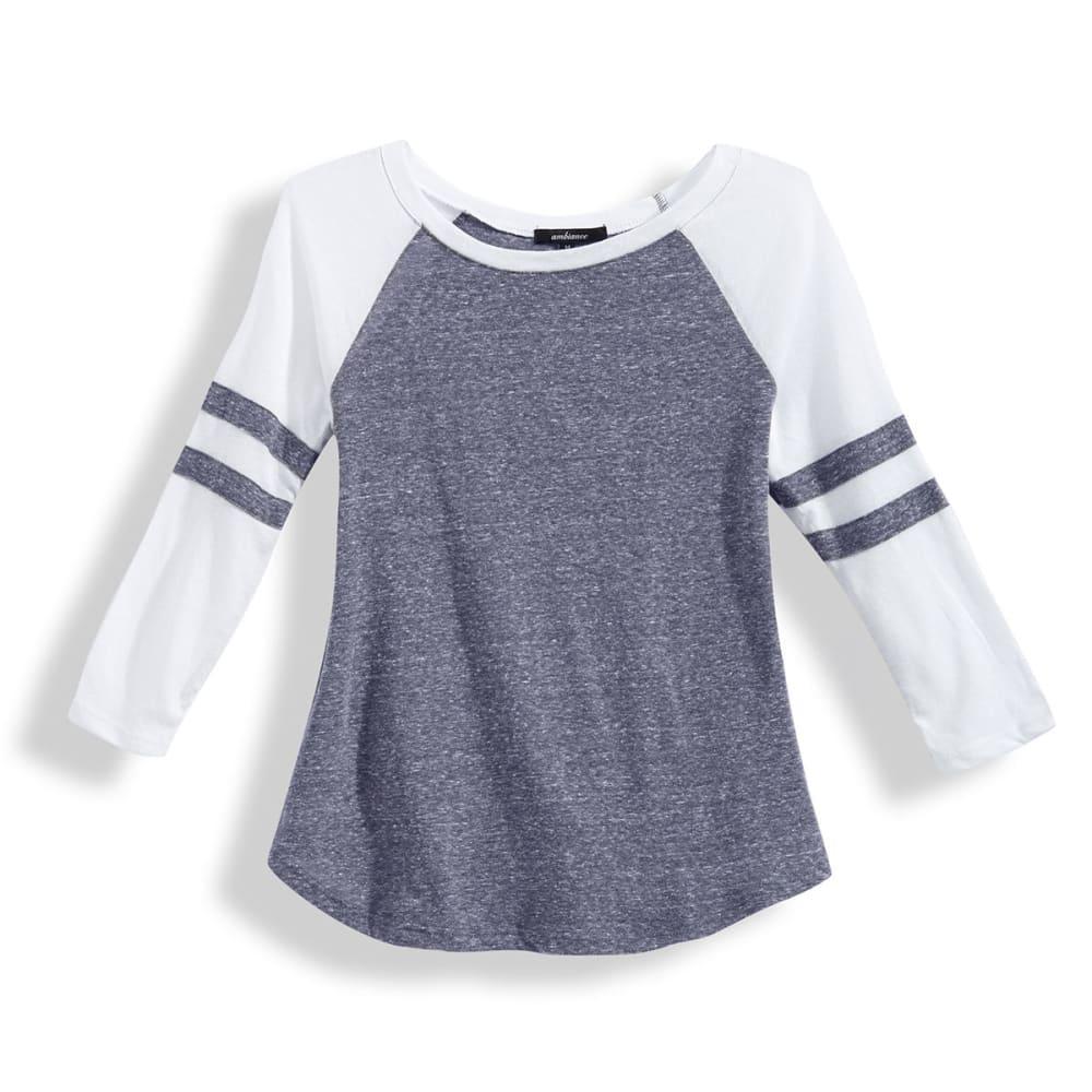 AMBIANCE Juniors' Baseball Rugby Stripe ¾ Sleeve Tee S