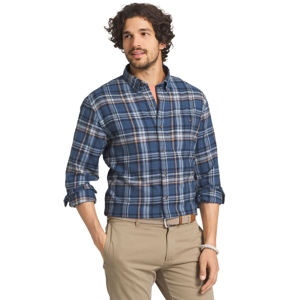 G.H. BASS & CO. Men's Fireside Flannel Long-Sleeve Shirt - 405-ENSIGN BLUE