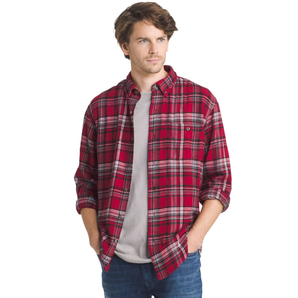 G.H. BASS & CO. Men's Fireside Flannel Long-Sleeve Shirt - 633-RHUBARB