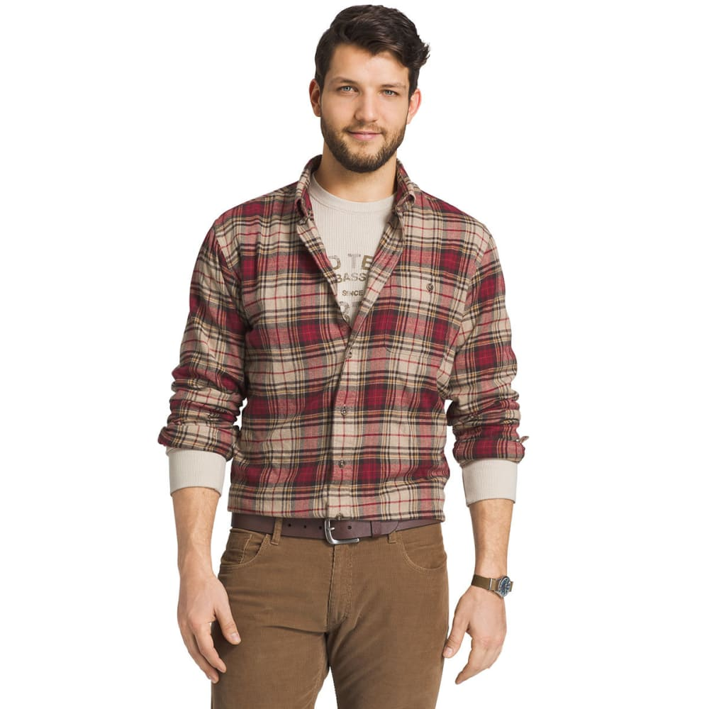 G.H. BASS & CO. Men's Long Sleeve Fireside Plaid Flannel Shirt - 135-OYSTER GRY HTR