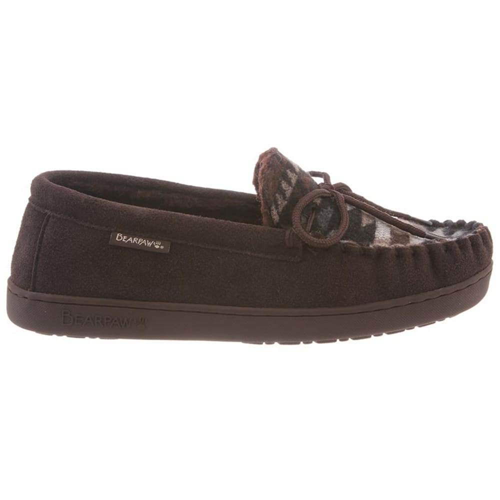 BEARPAW Men's Aztec Moccasin II Slippers - CHOCOLATE AZTEC