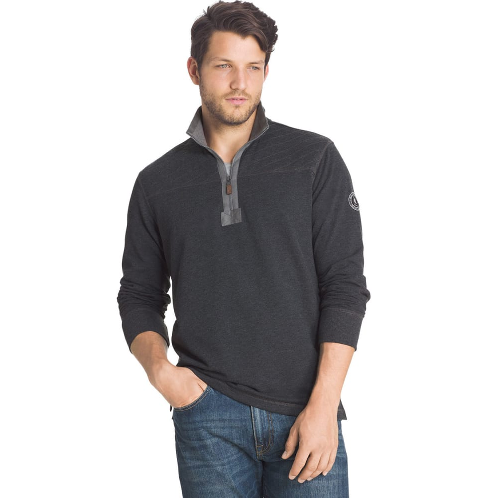 G.H. BASS & CO. Men's Mountain Wash Half-Zip Fleece Pullover - 027-BLACK HTR