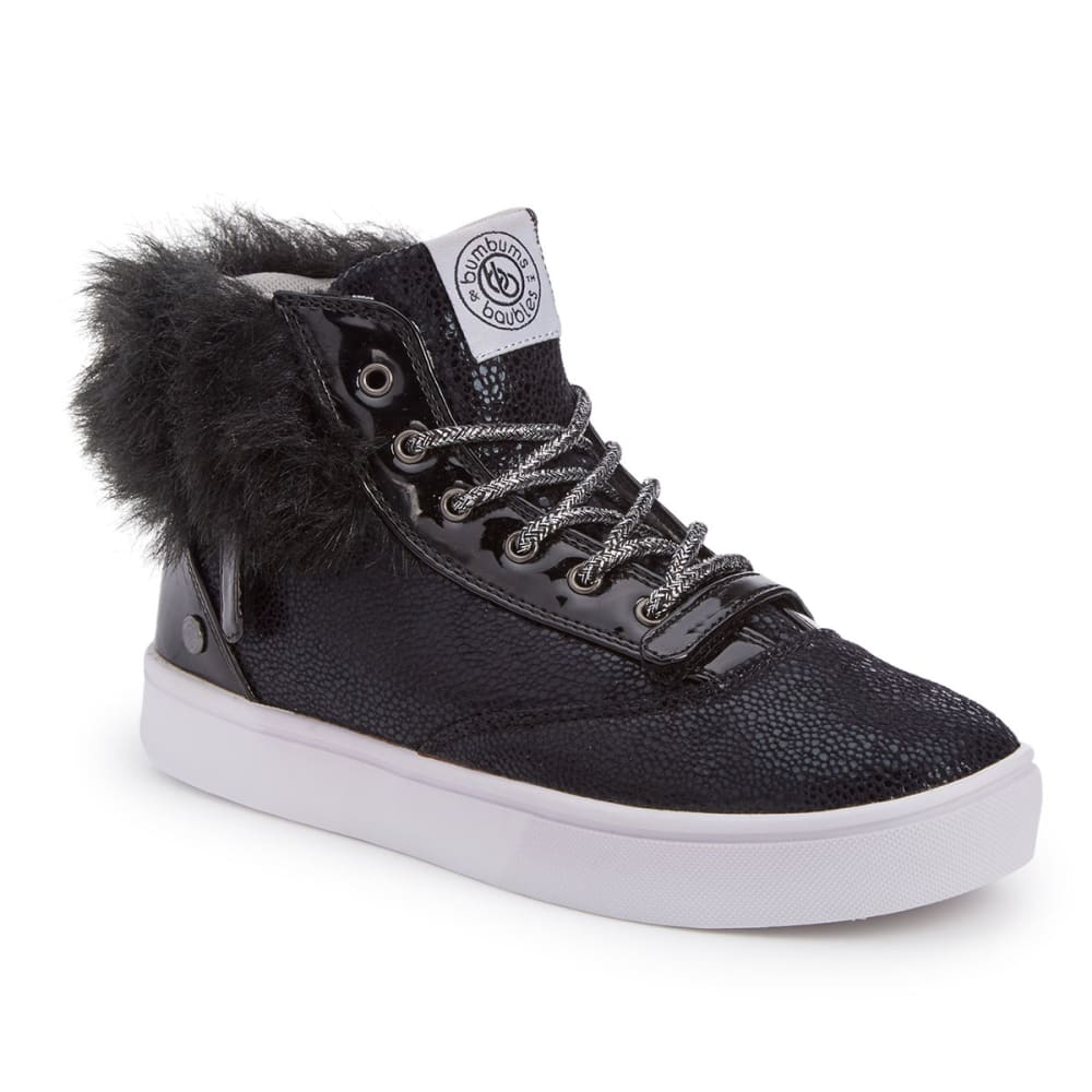 Bumbums & Baubles Girls Brooklyn Fur Sneakers - Black, 1