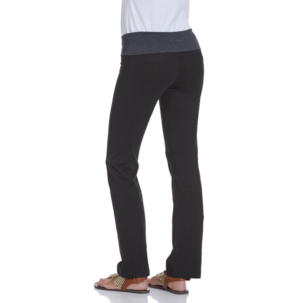 ZENANA OUTFITTERS Juniors' Color Block Foldover Yoga Pants - BLK/CHARCOAL