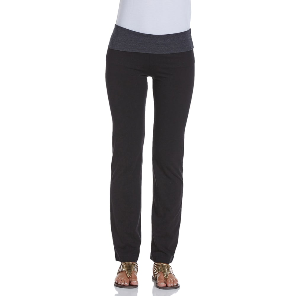 ZENANA OUTFITTERS Juniors' Color Block Foldover Yoga Pants - BLK/CHARCOAL