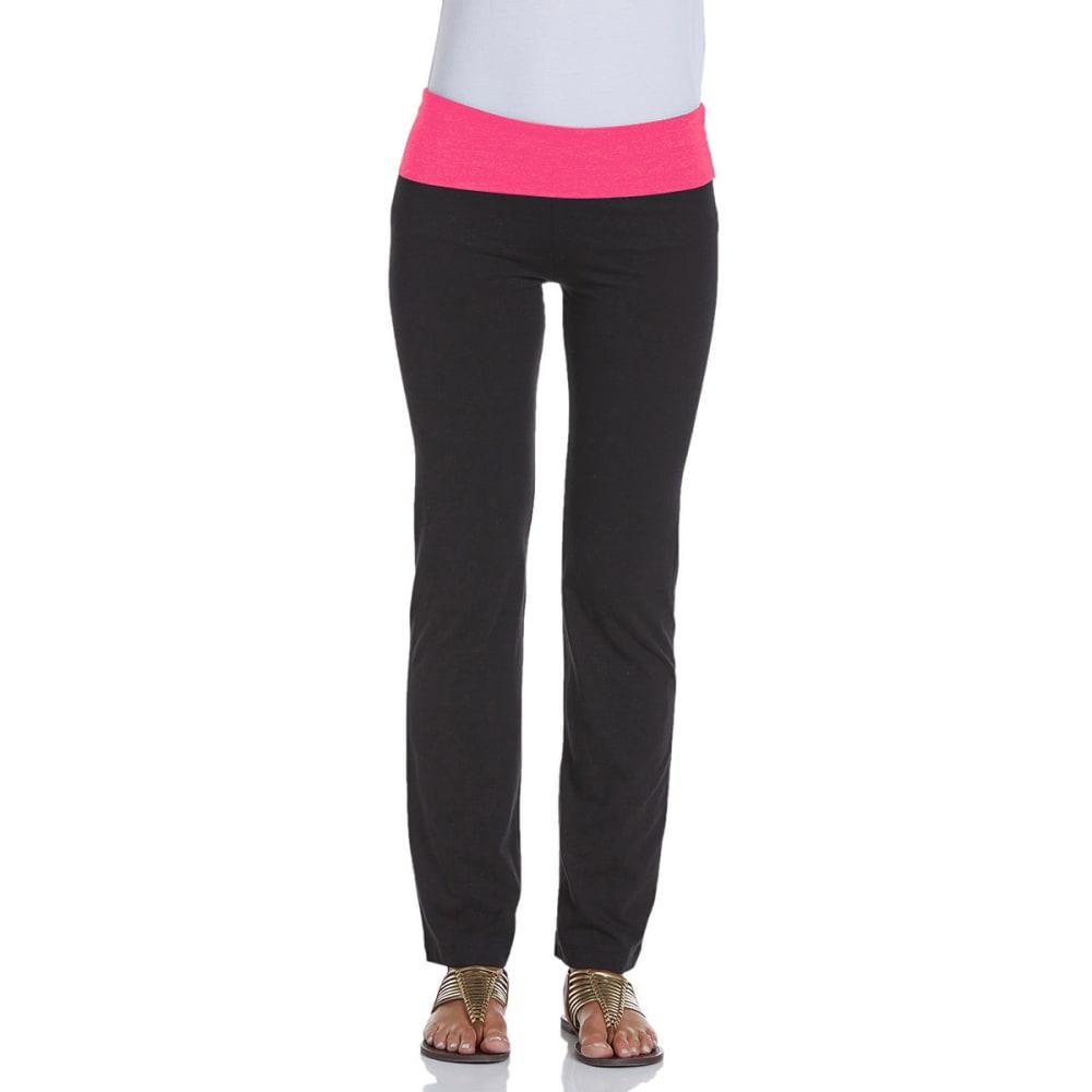 ZENANA OUTFITTERS Juniors' Color Block Foldover Yoga Pants - BLK/NEON PINK