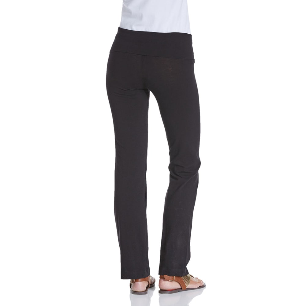 ZENANA OUTFITTERS Juniors' Foldover Yoga Pants - BLACK
