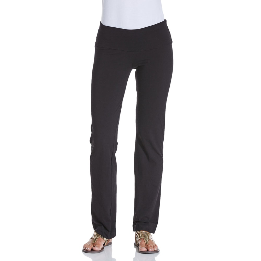 ZENANA OUTFITTERS Juniors' Foldover Yoga Pants - BLACK