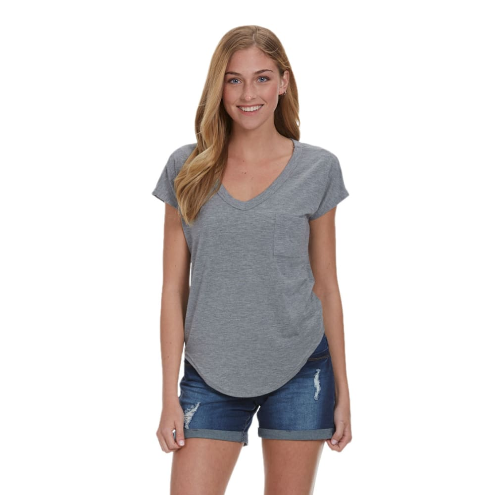 POOF Juniors' Pocket Ladder Back Tee - GREY HTR