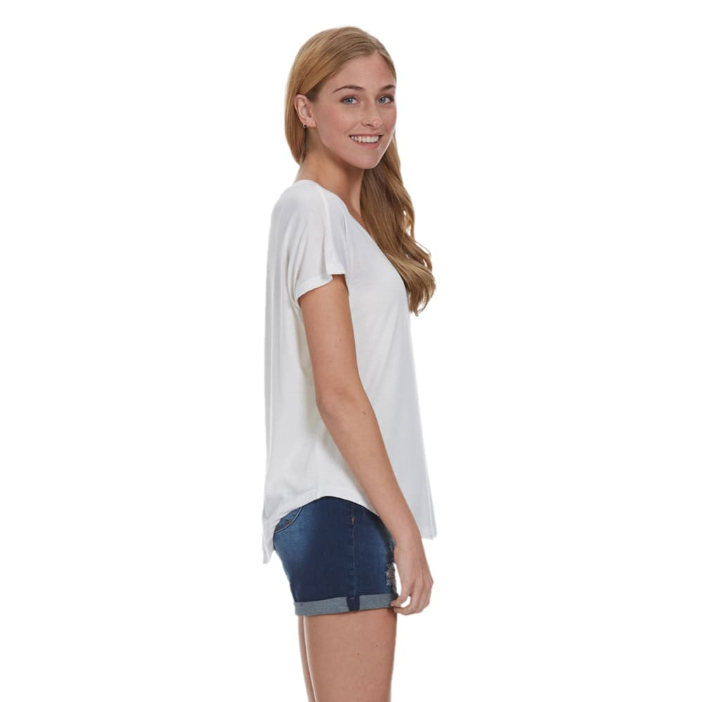 POOF Juniors' Pocket Ladder Back Tee - EGGWHITE