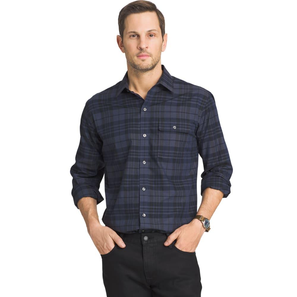 VAN HEUSEN Men's Heather Plaid Woven Shirt - 489-BL BK IRIS