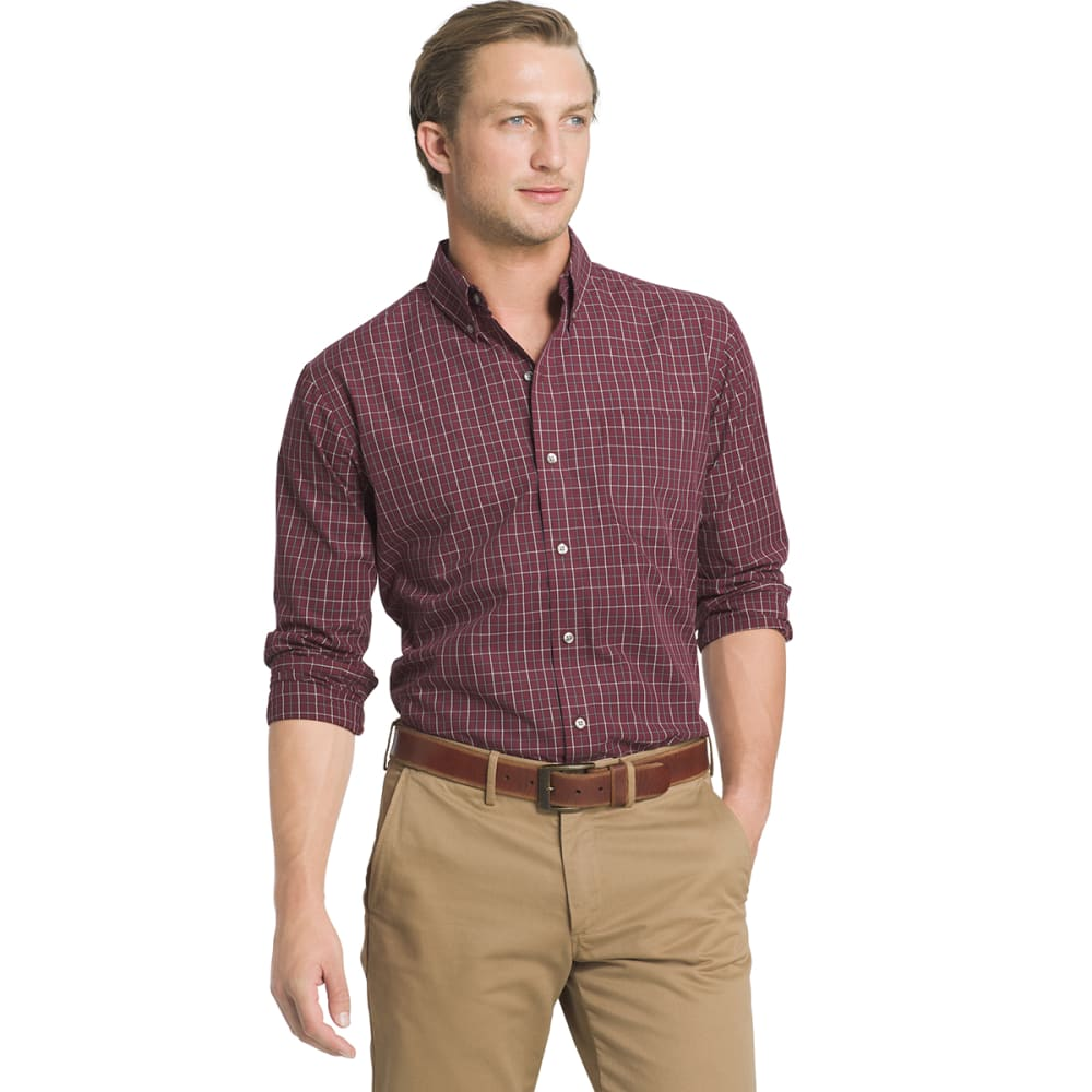 ARROW Men's Hamilton Plaid Poplin Shirt - 603-CHOC TRUFFLE