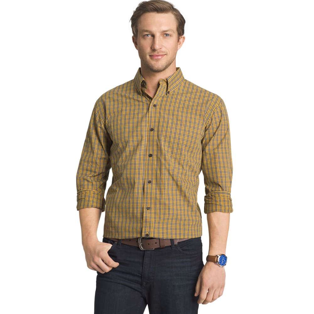 Arrow Men's Blazer Plaid Long-Sleeve Shirt - Yellow, L