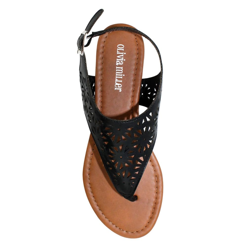 OLIVIA MILLER Women's Laser-Cut Sandals - BLACK