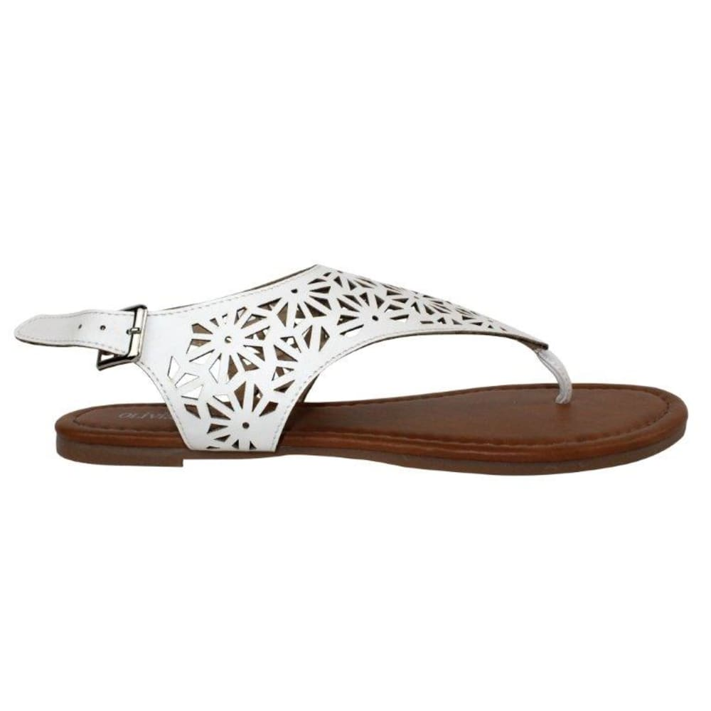 OLIVIA MILLER Women's Laser-Cut Sandals - WHITE