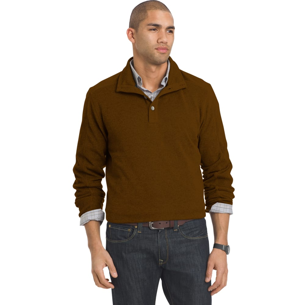 VAN HEUSEN Men's Buttoned Mock Neck Sweater Fleece Pullover - 820-ORG SYRUP
