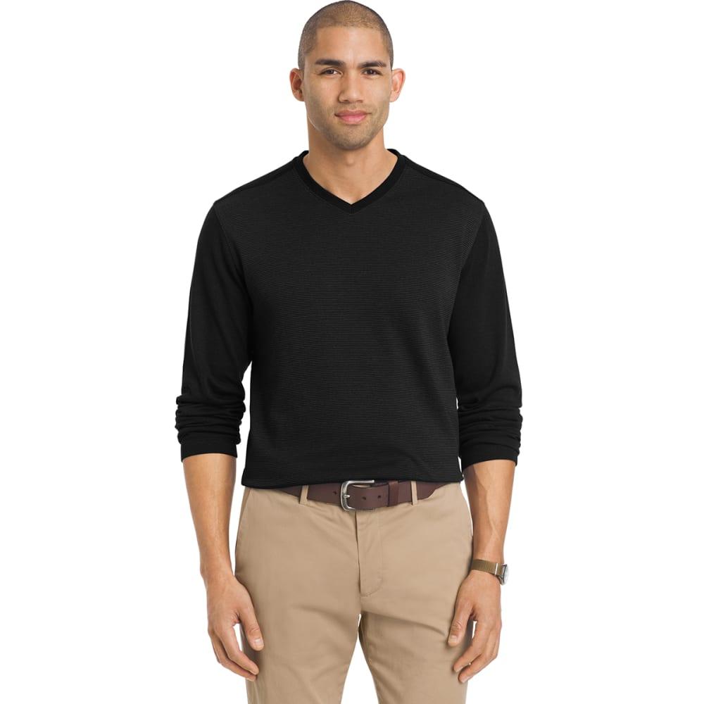 VAN HEUSEN Men's Jaspe Long-Sleeve V-Neck Shirt - 001-BLACK