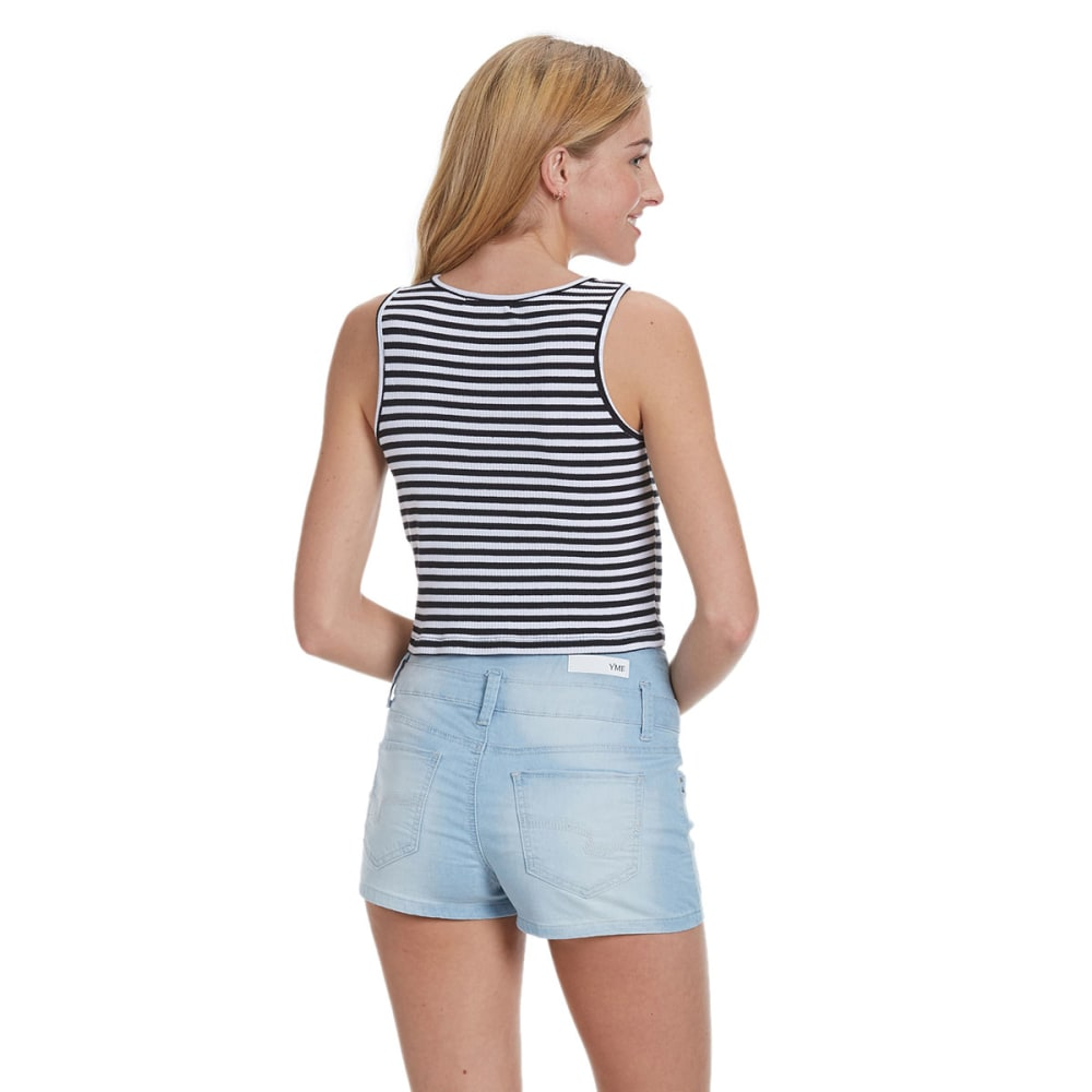 AMBIANCE APPAREL Juniors' Stripe Ribbed Crop Top - BLACK/WHITE