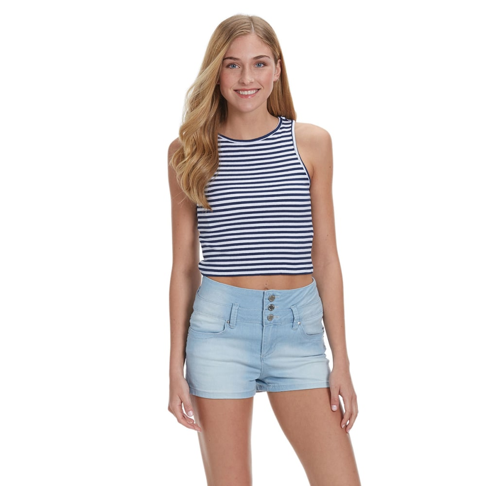 AMBIANCE APPAREL Juniors' Stripe Ribbed Crop Top S