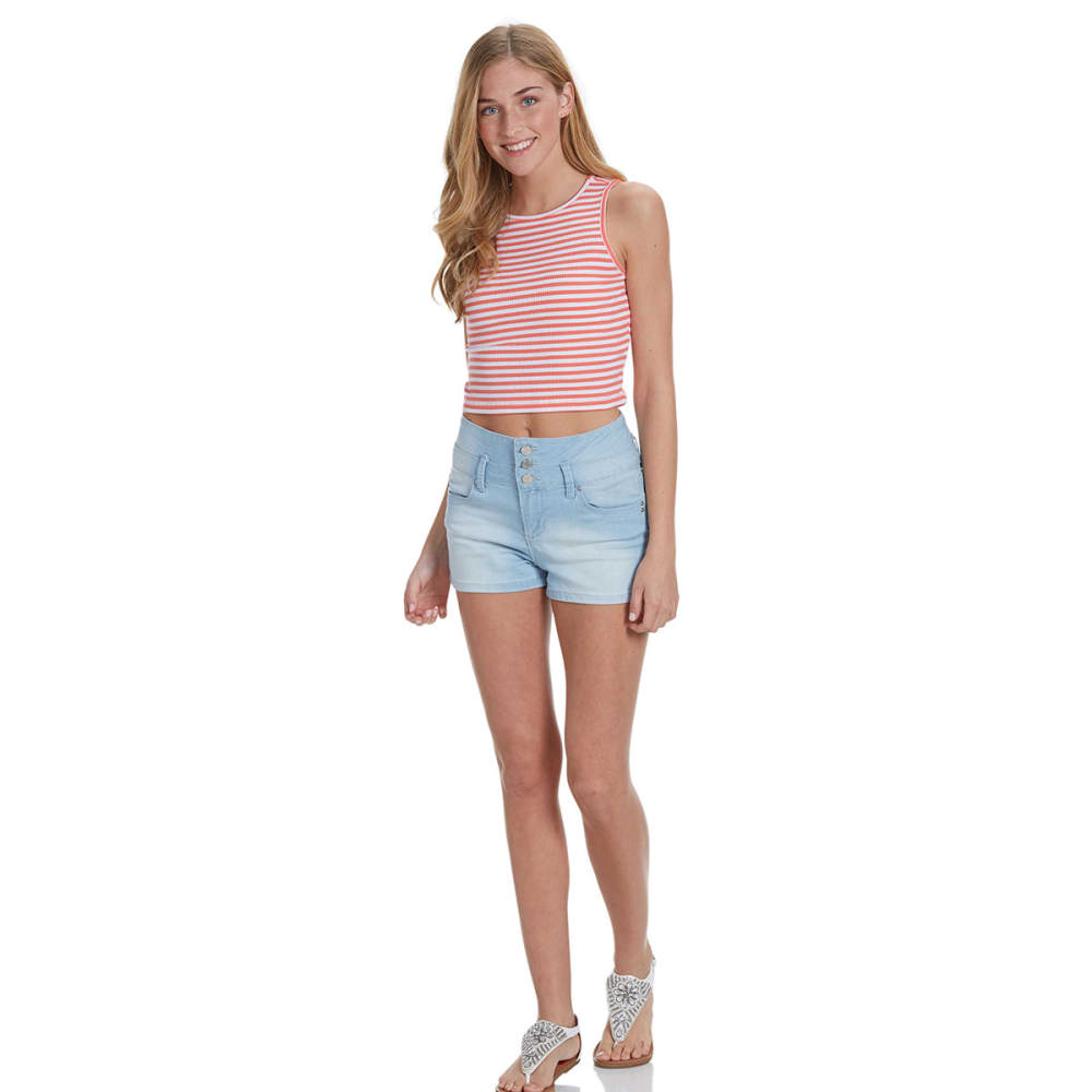 AMBIANCE APPAREL Juniors' Stripe Ribbed Crop Top - NEW CORAL/WHITE