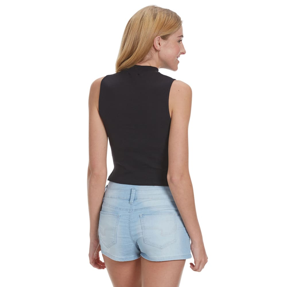 AMBIANCE APPAREL Juniors' Mock Neck Ribbed Crop Top - BLACK
