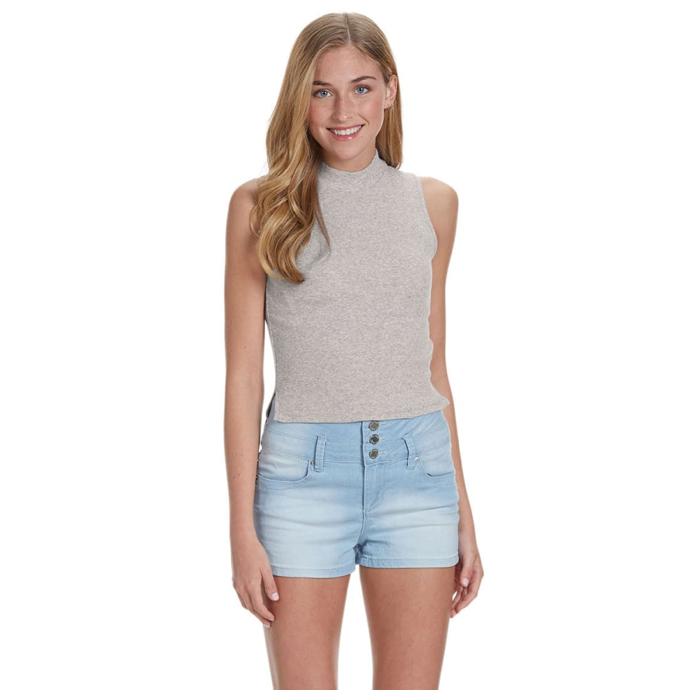 AMBIANCE APPAREL Juniors' Mock Neck Ribbed Crop Top - OATMEAL