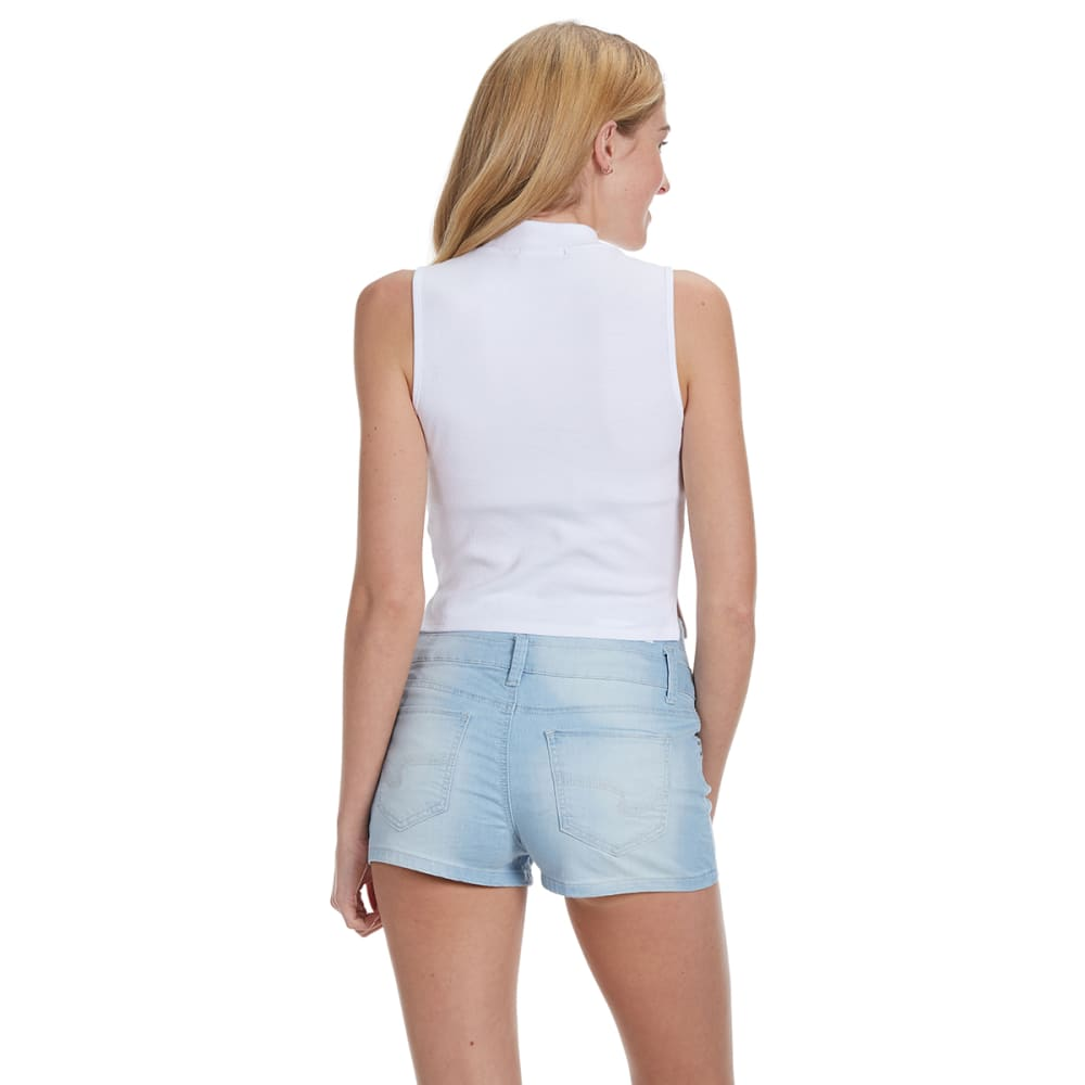 AMBIANCE APPAREL Juniors' Mock Neck Ribbed Crop Top - WHITE