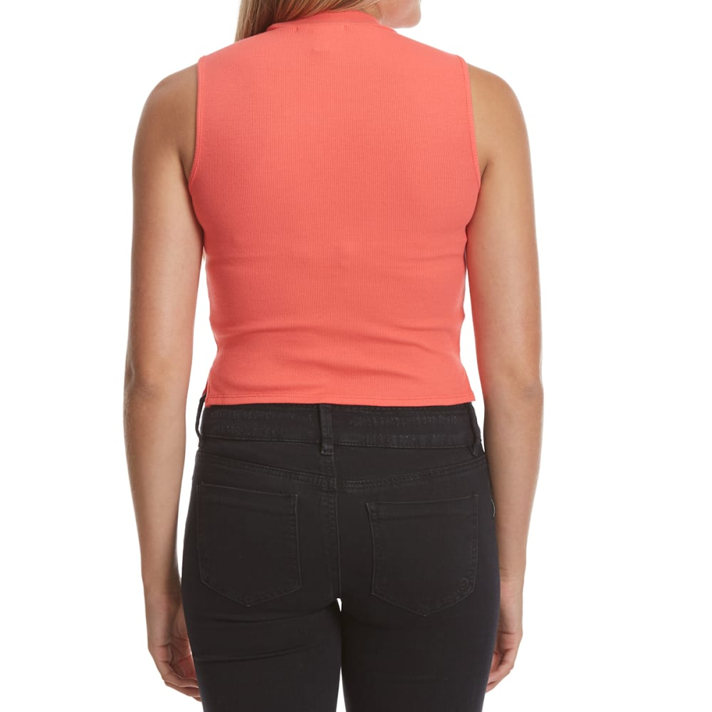 AMBIANCE APPAREL Juniors' Mock Neck Ribbed Crop Top - CORAL