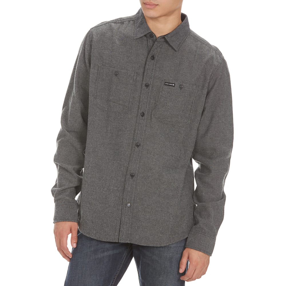 OCEAN CURRENT Guys' Beaver Herringbone Flannel Shirt - MOUSE GREY
