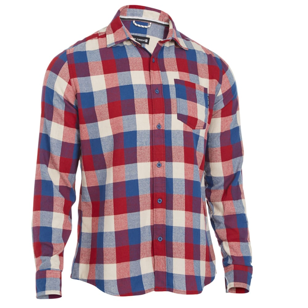 OCEAN CURRENT Guys' Super Flannel Shirt - RED/TAN/BLUE