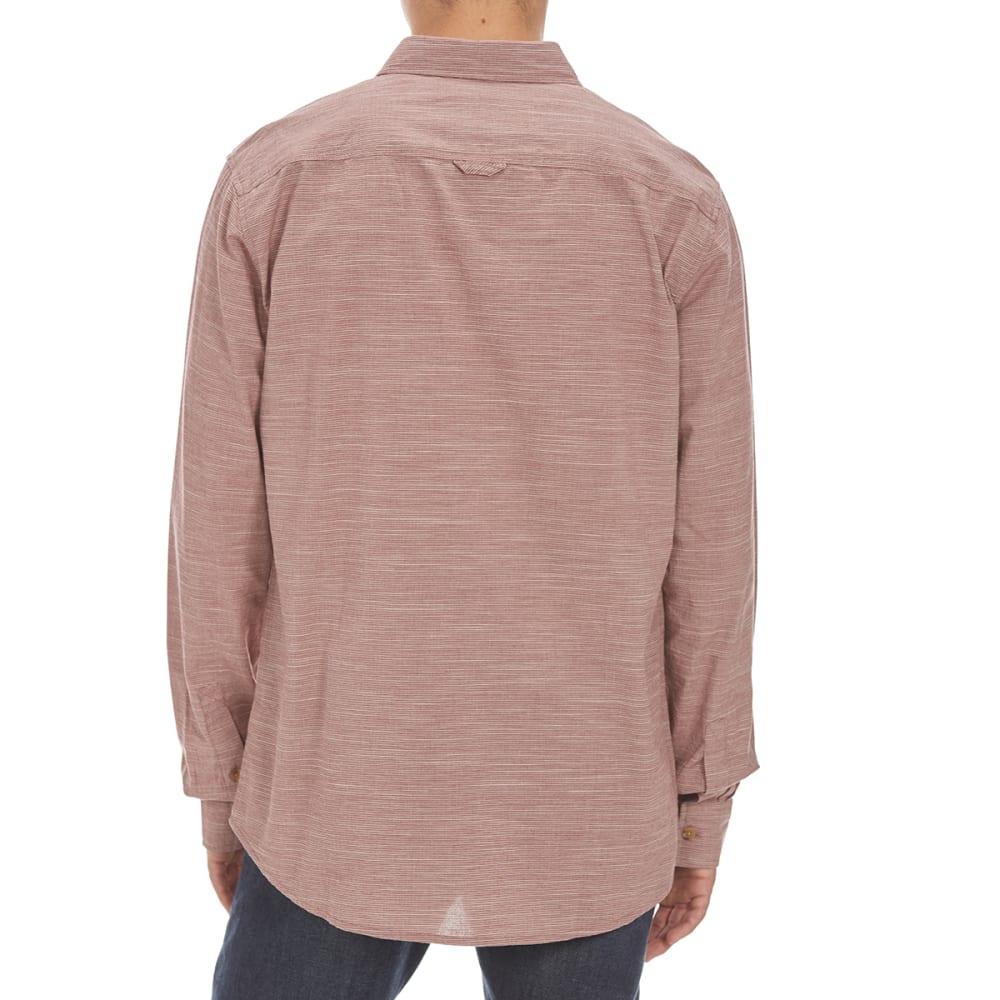 OCEAN CURRENT Guys' Authentically Woven Long Sleeve Shirt - DEEP BURGUNDY